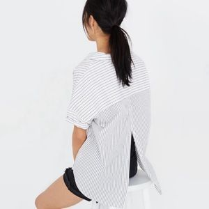 Madewell Button-Back Shirt in Stripe Mix M